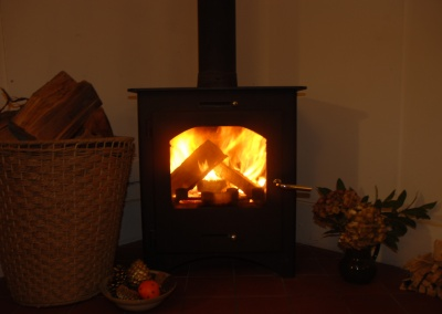 Woodburning stove in Ty'r Adar cottage