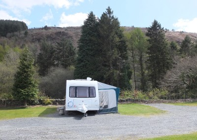 Standard pitches have hardstanding and small grassy area for awnings