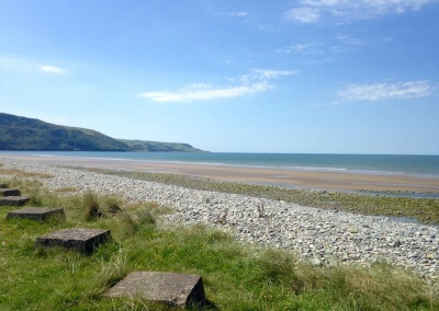 Fairbourne beach is 10 minutes drive