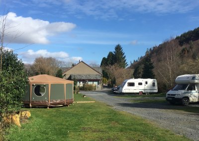 For winter glamping Tommy will be sited here next to Idris yurt