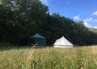Bell tent and kitchen gazebo