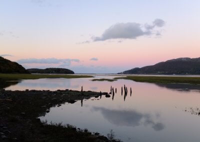 Ruined jetty on Mawddach Estuary at bottom of Graig Wen
