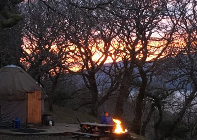 Sunset at yurt for two