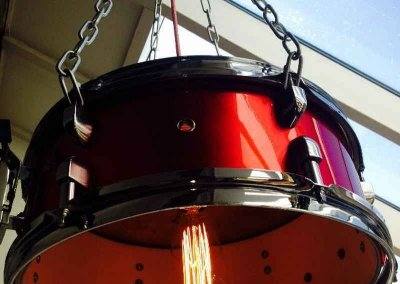 Upcycled drum lamp