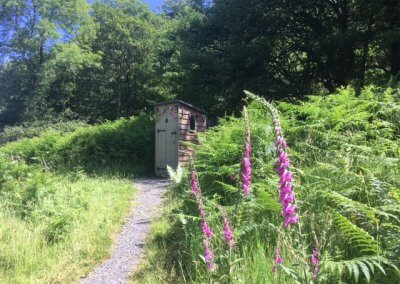 Clean compost loo close to Idris in summer