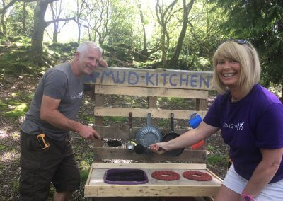 Johnny and Jo launch the mud kitchen!