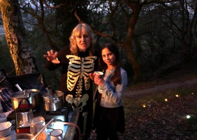 Spooky Sarah with Katy helping out with the mulled apple juice