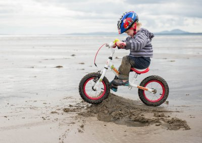 Ellen Beddows Ramp Building and biking on Black Rock sands