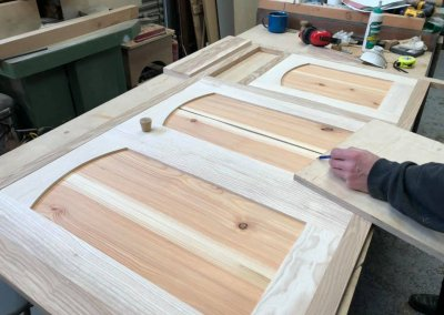 The cabinets being made from native Welsh hardwoods