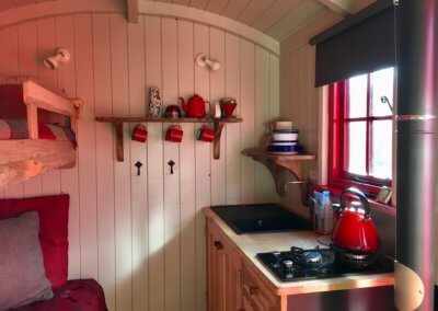 Shepherd's Hut Kitchen has simple cooker