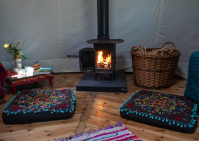 Woodburner in Idris Yurt