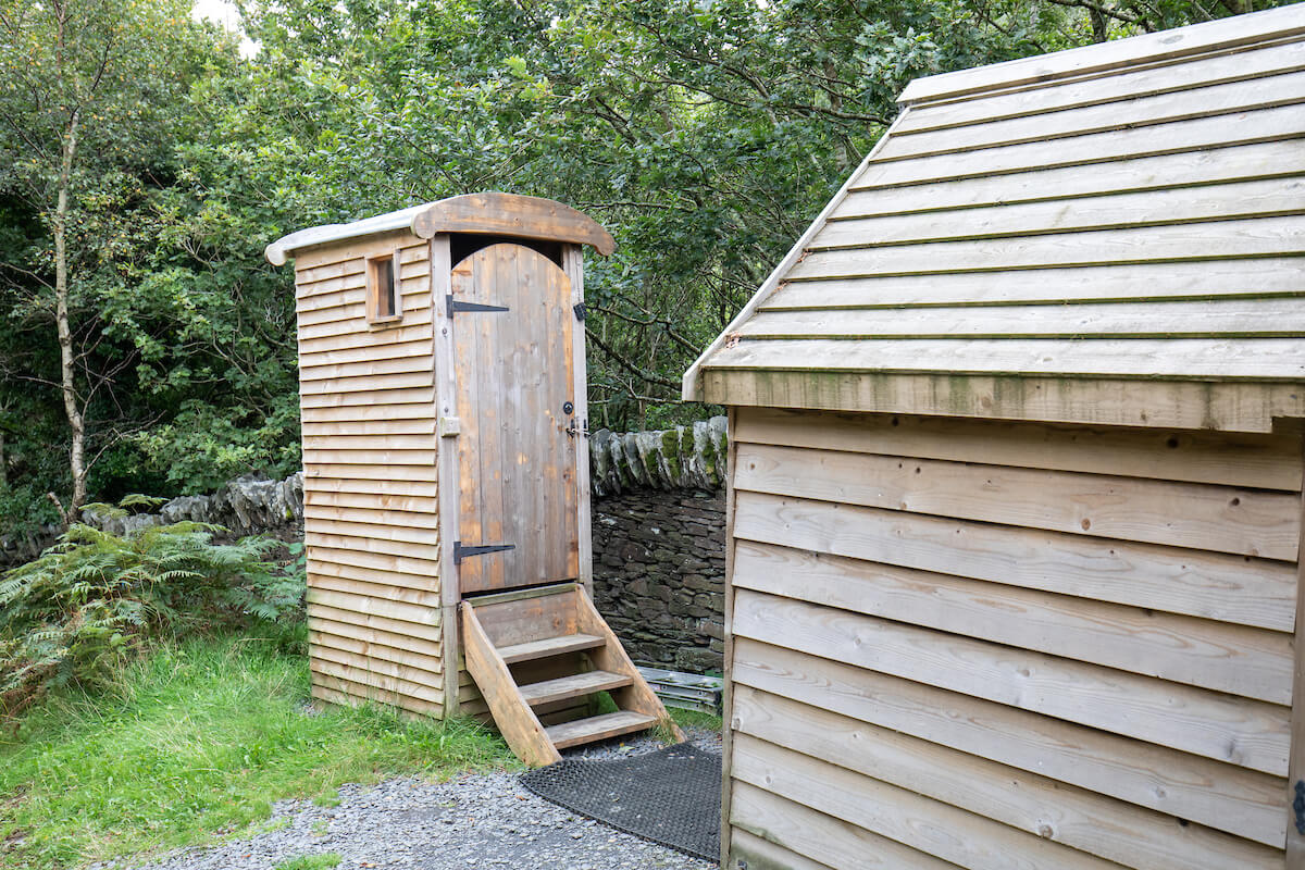 Compost loo and hot shower nearby. Conventional loos a short walk away