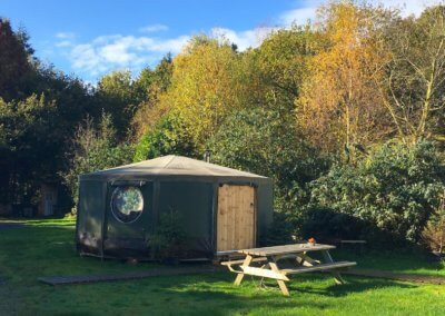 Idris yurt in sheltered Autumn location
