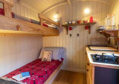 Bunk beds can be set up in the Shepherd's Hut