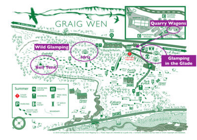 Glamping areas at Graig Wen