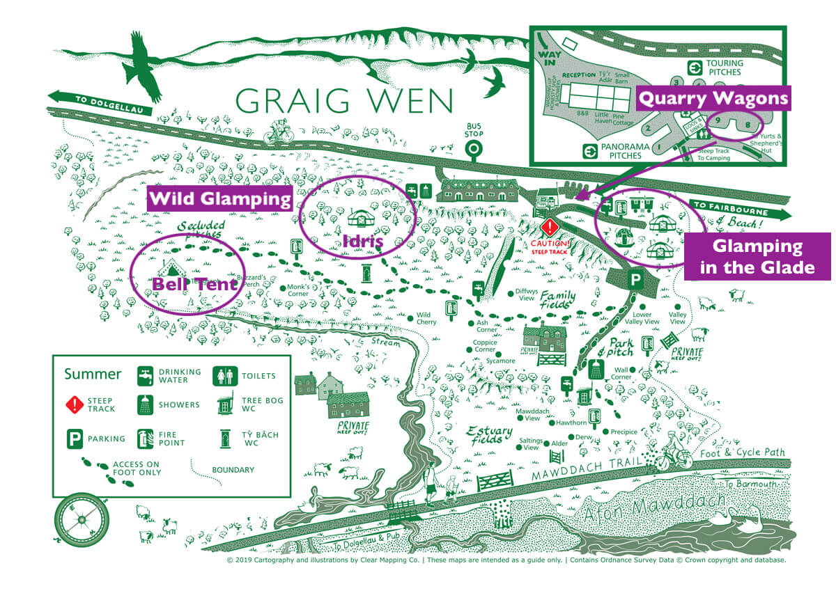 Glamping areas at Graig Wen