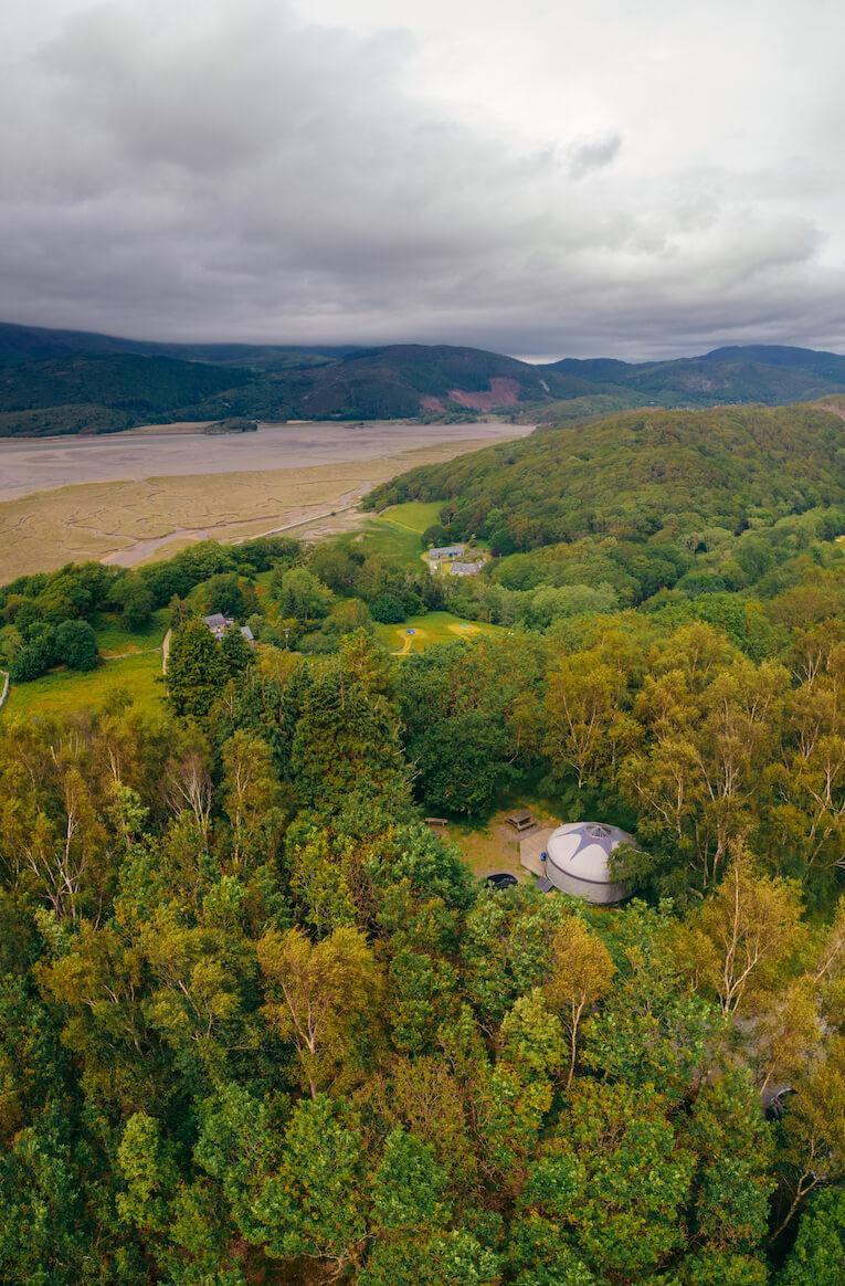 Drone view of large yurt at Graig Wen