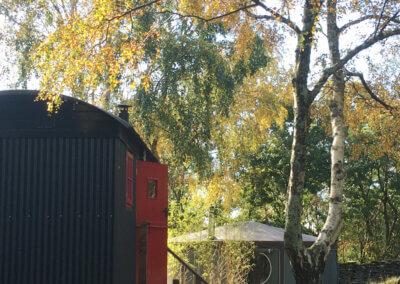 Autumn glamping in shepherds hut, Graig Wen